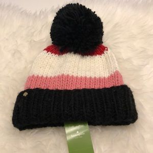 Kate Spade Hand Knit Colorblock Hat NWT